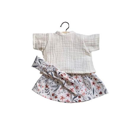 Minikane® Haljina za lutke  Réjane Ecru s trakom 34cm
