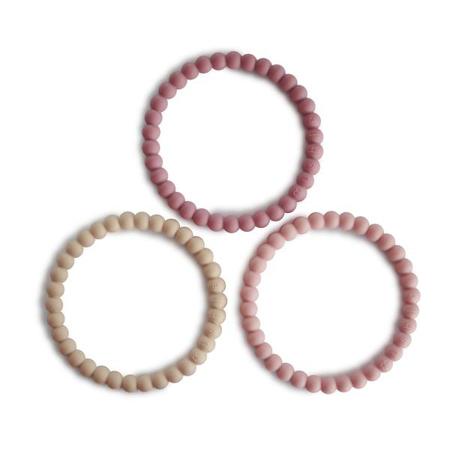 Slika za Mushie® Grizalo obrući  Pearl Linen/Peony/Pale Pink 3 komada