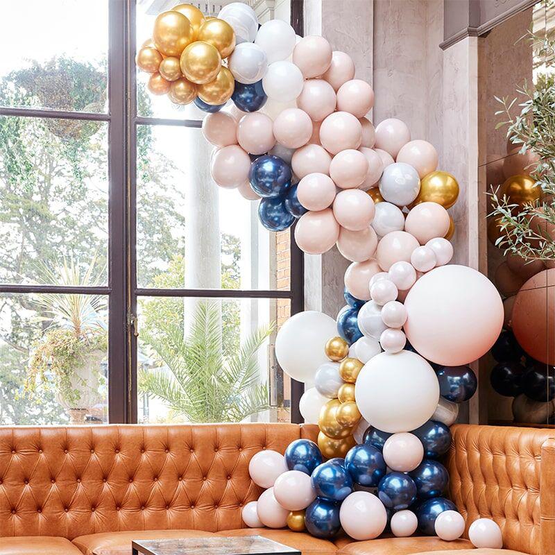 Slika za  Ginger Ray® Luk od balona Luxe Marble, Navy & Gold Chrome