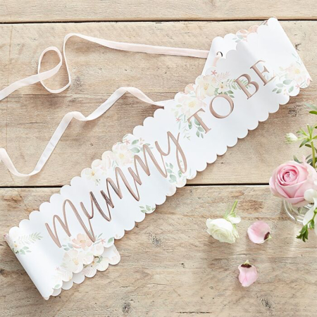 Slika za Ginger Ray® Traka Floral Rose Gold Mummy to Be