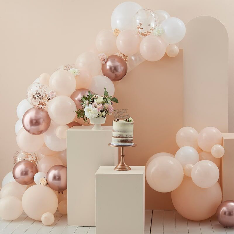 Slika za Ginger Ray® Luk od balona Peach, White & Rose Gold