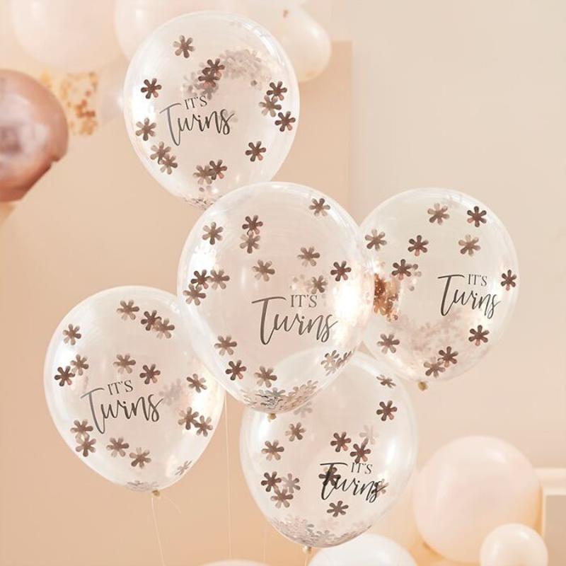 Slika za Ginger Ray® Baloni s konfetima It's Twins 5 komada