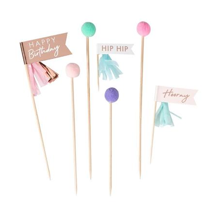 Ginger Ray® Ukrasi za deserte Mix It Up Happy Birthday Pom Poms Pastel 12 komada