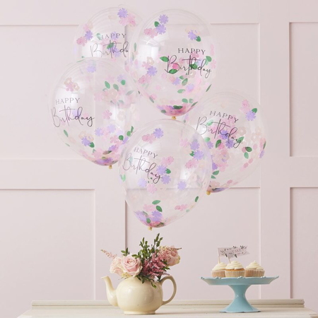 Slika za Ginger Ray® Baloni s konfetima Floral Happy Birthday 5 komada