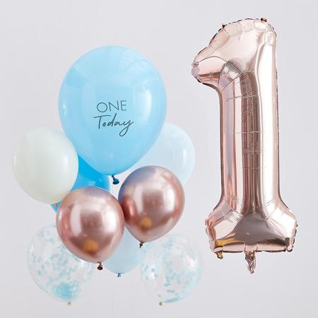 Slika za Ginger Ray® Baloni za 1. rođendan Mix It Up Blue and  Rose Gold