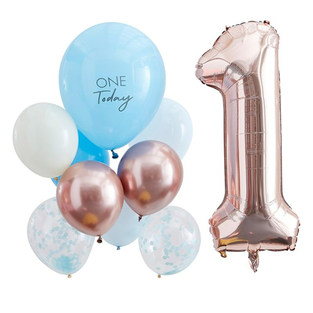 Ginger Ray® Baloni za 1. rođendan Mix It Up Blue and  Rose Gold