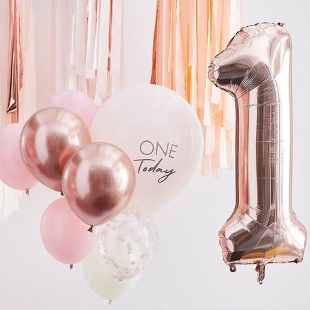 Slika za Ginger Ray® Baloni za 1. rođendan Mix It Up Pink Rose Gold