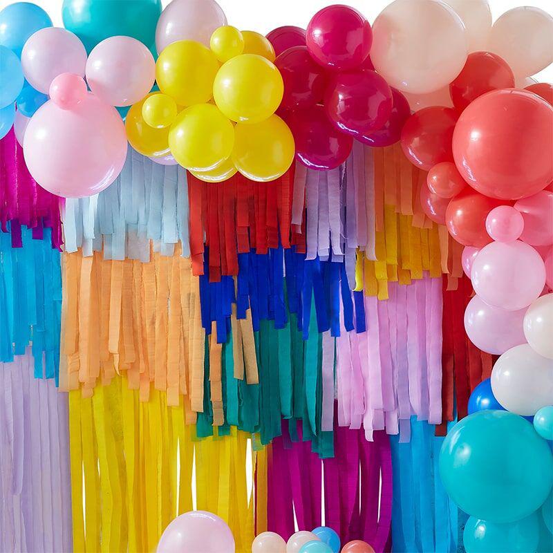 Slika za Ginger Ray® Pozadina za fotografiranje s balonima i resicama  Mix It Up Brights Rainbow