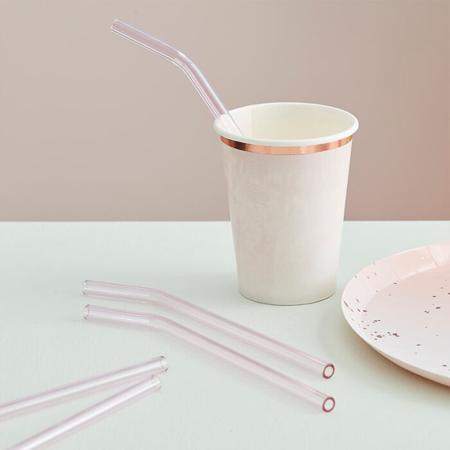 Slika za  Ginger Ray® Staklene slamice Mix It Up Pink 4 komada
