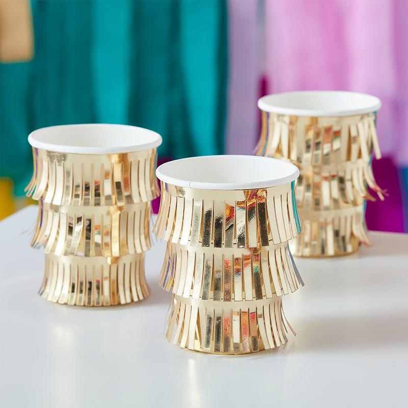 Slika za Ginger Ray® Papirne čašice Fringe Gold 8 komada
