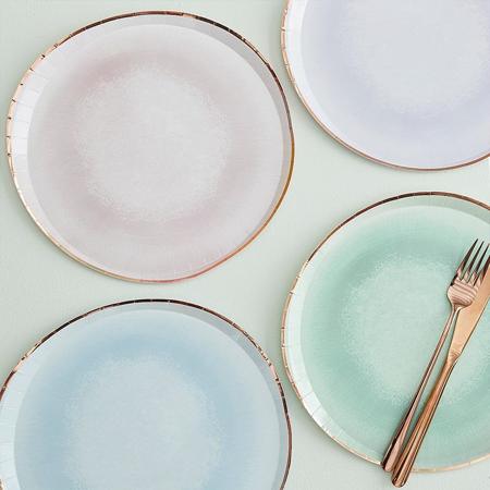 Slika za Ginger Ray® Pastelni papirnati tanjuri Mix It Up Watercolor 8 komada