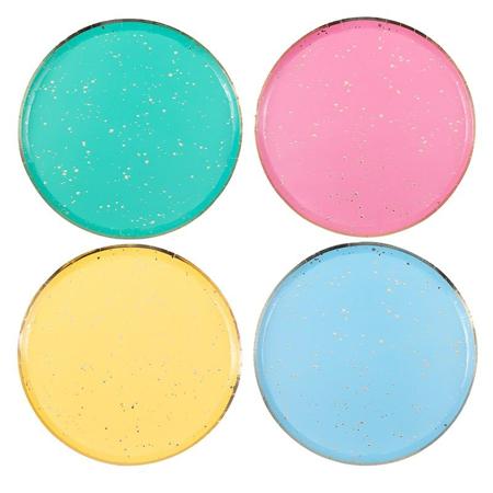 Slika za Ginger Ray® Pastelni papirnati tanjuri Mix It Up Flecked Rainbow 8 komada