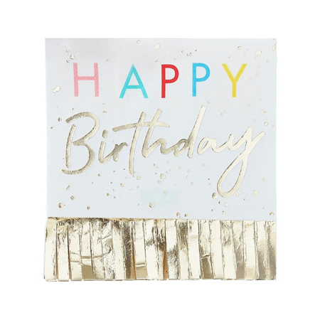 Ginger Ray®  Papirne salvete  Happy Birthday Mix It Up Fringed Gold 16 komada