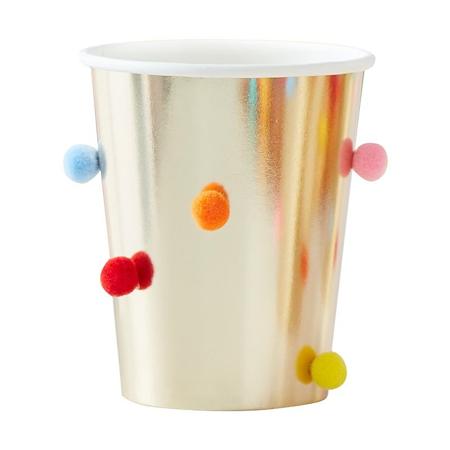 Ginger Ray® Papirnate čašice Rainbow Pom Pom Gold  8 komada