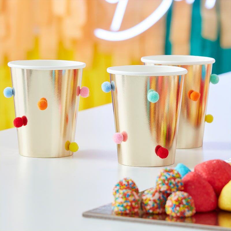 Slika za Ginger Ray® Papirnate čašice Rainbow Pom Pom Gold  8 komada