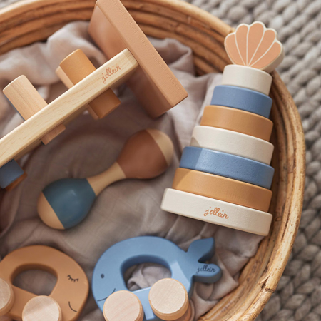 Slika za Jollein® Drveni toranj za slaganje Shell Blue