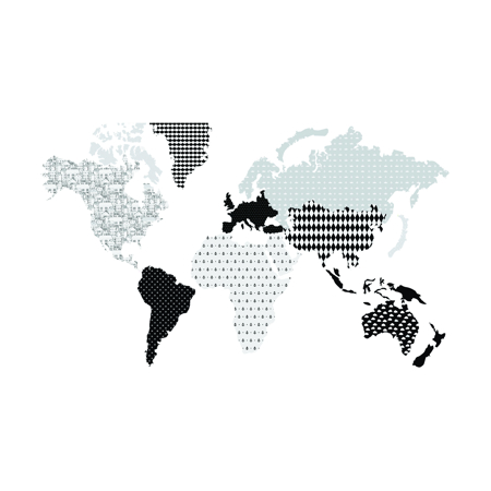 Dekornik® Zidna naljepnica Karta Svijeta Black&White - M