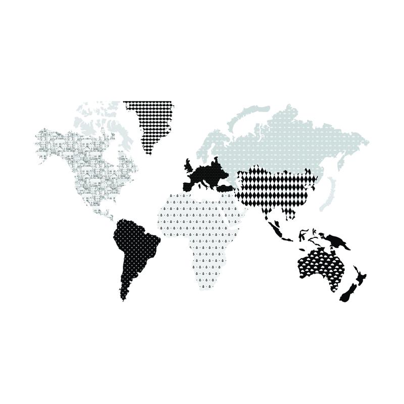 Slika za Dekornik® Zidna naljepnica Karta Svijeta Black&White - M