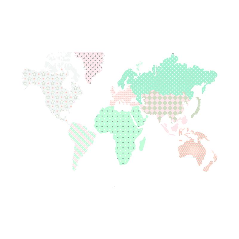 Slika za Dekornik® Zidna naljepnica Karta Svijeta Pastel - M