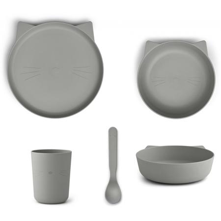 Slika za Liewood® Set za jelo od silikona Paul Cat Dove Blue