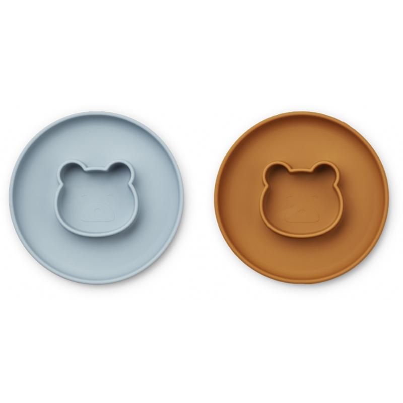 Slika za Liewood® Komplet silikonskih tanjura Gordon Mr bear sea blue/mustard Mix