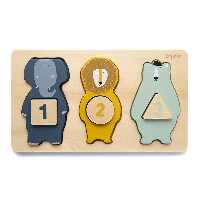 Slika za  Trixie Baby® Drvena slagalica s brojevima i životinjicama