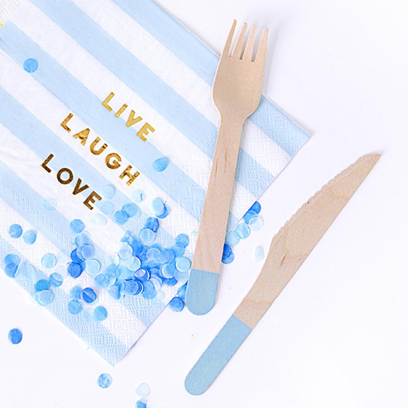 Slika za  Party Deco Drveni pribor Light Blue 18 komada
