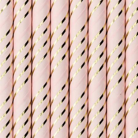 Slika za Party Deco®  Papirne slamice Light Pink Golden 10 komada