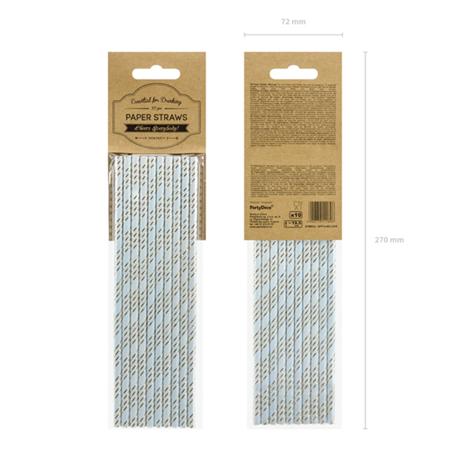 Slika za Party Deco®  Papirne slamice Light Blue 10 komada