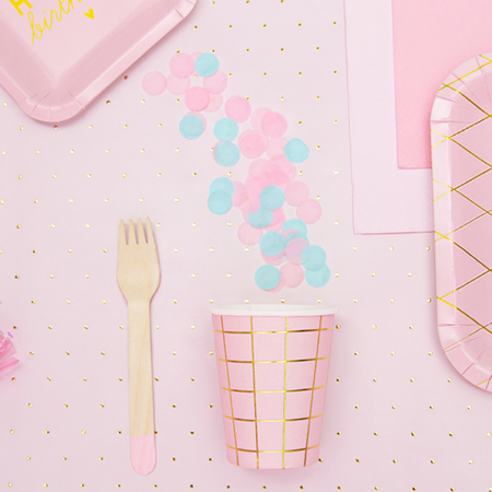 Slika za Party Deco Drveni pribor Light Pink 18 komada