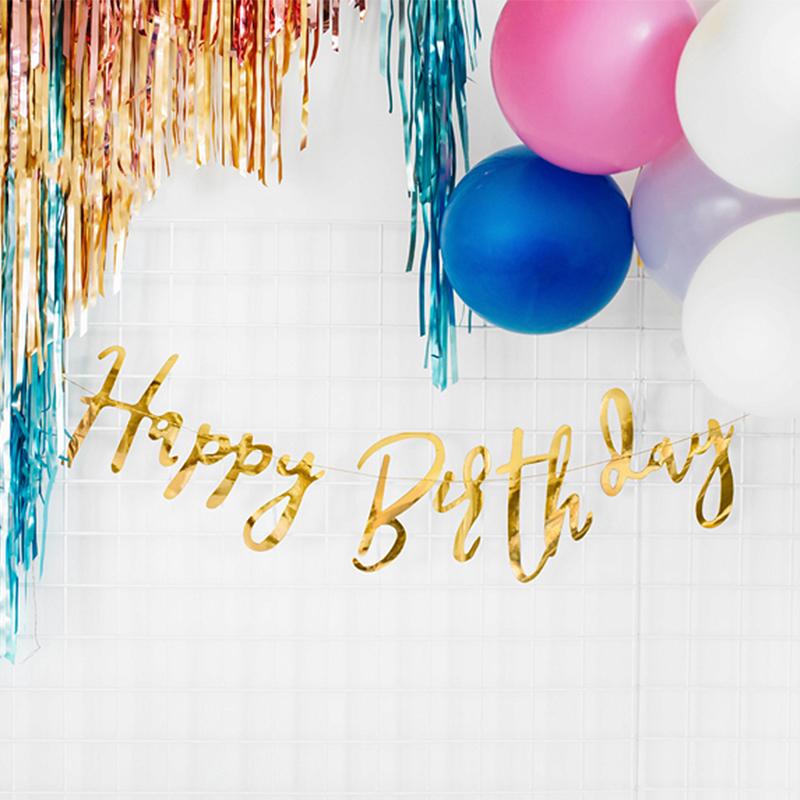 Slika za Party Deco® Viseći natpis Happy Birthday Gold