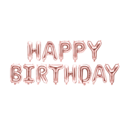 Slika za Party Deco® Baloni Happy Birthday Rose Gold