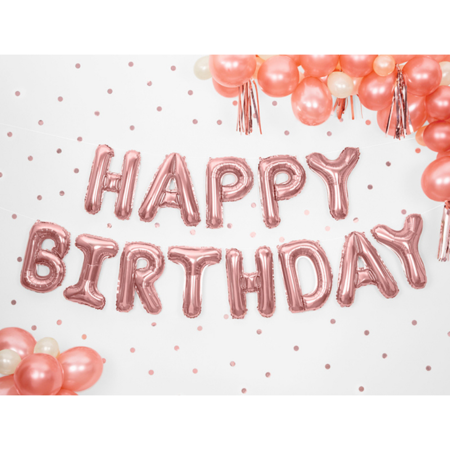 Party Deco® Baloni Happy Birthday Rose Gold