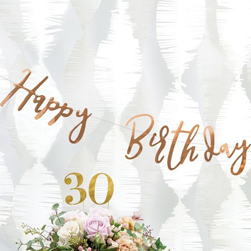 Slika za Party Deco® Viseći natpis Happy Birthday Rose Gold