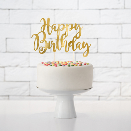 Slika za  Party Deco® Natpis za tortu Happy Birthday Gold
