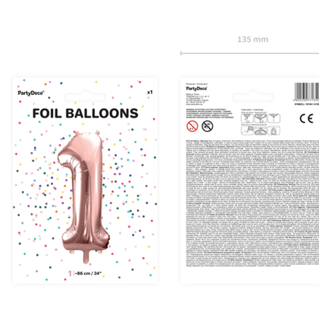 Slika za Party Deco®  Baloni u obliku broja 1 Rose Gold