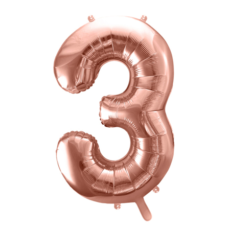 Party Deco®  Baloni u obliku broja 3 Rose Gold