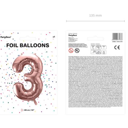 Slika za Party Deco®  Baloni u obliku broja 3 Rose Gold