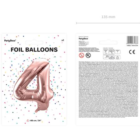 Slika za Party Deco®  Baloni u obliku broja 4 Rose Gold