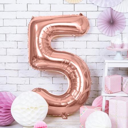Slika za Party Deco®  Baloni u obliku broja 5 Rose Gold