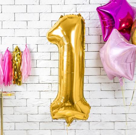 Slika za Party Deco® Balon u obliku broja 1 Gold