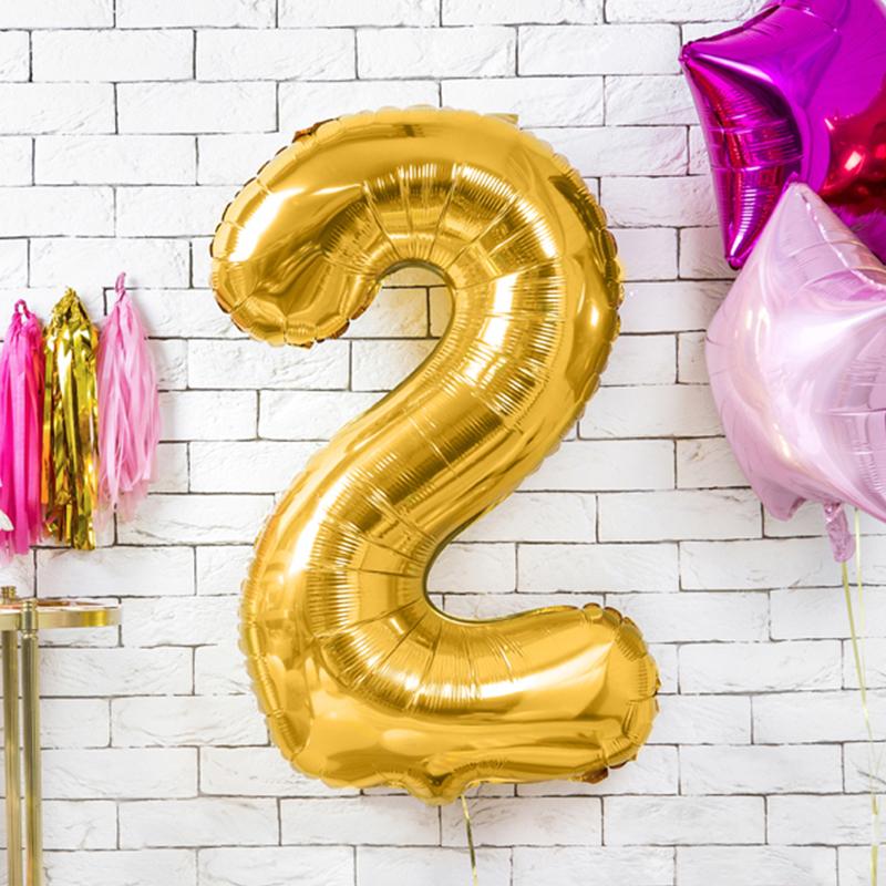 Slika za Party Deco® Balon u obliku broja 2 Gold