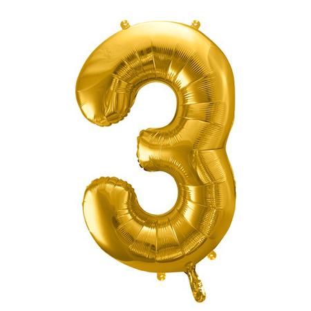 Party Deco® Balon u obliku broja 3 Gold