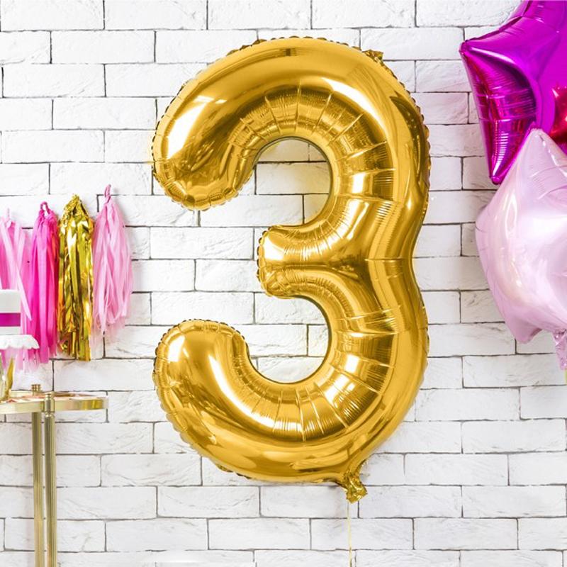Slika za Party Deco® Balon u obliku broja 3 Gold