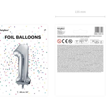 Slika za Party Deco® Balon u obliku broja 1 Silver