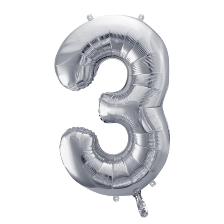 Party Deco® Balon u obliku broja 3 Silver