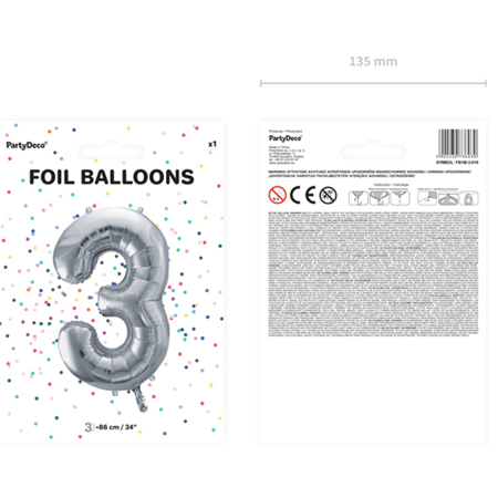 Slika za Party Deco® Balon u obliku broja 3 Silver