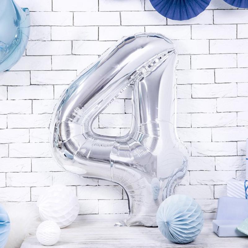 Slika za Party Deco® Balon u obliku broja 4 Silver
