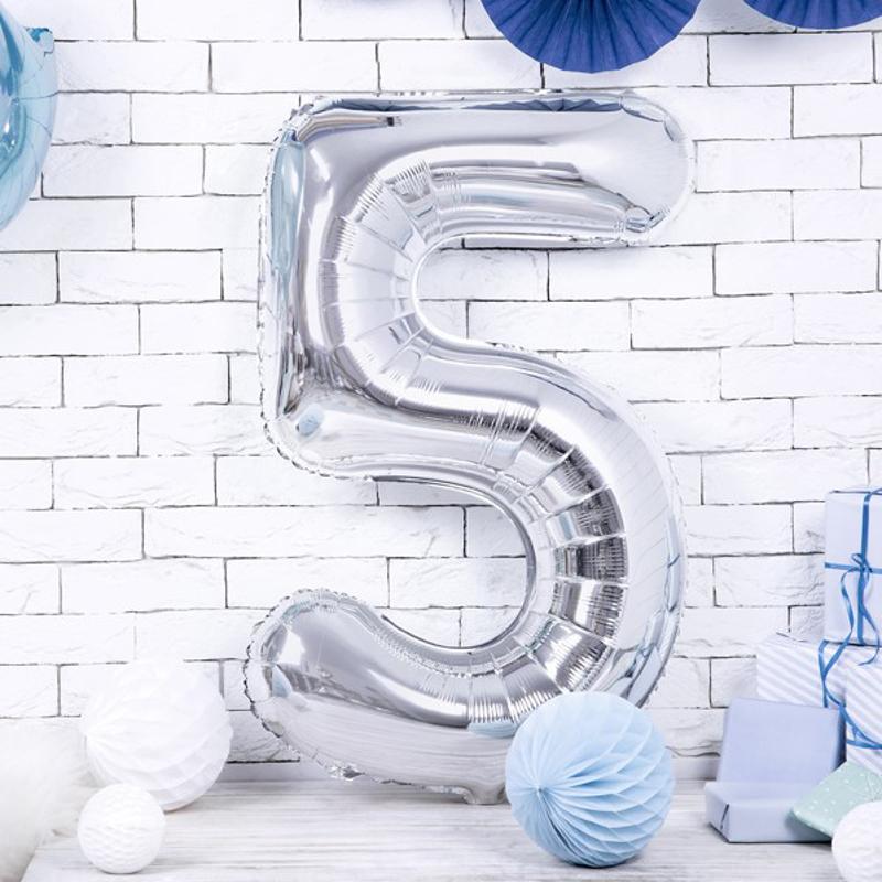 Slika za Party Deco® Balon u obliku broja 5 Silver