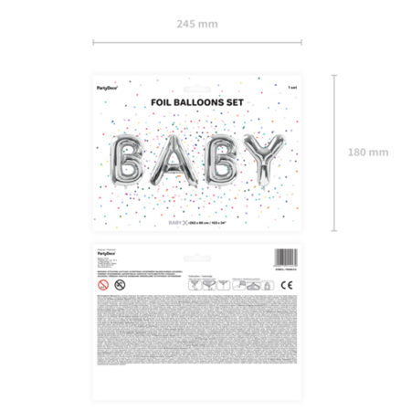 Slika za Party Deco® Baloni Baby Silver
